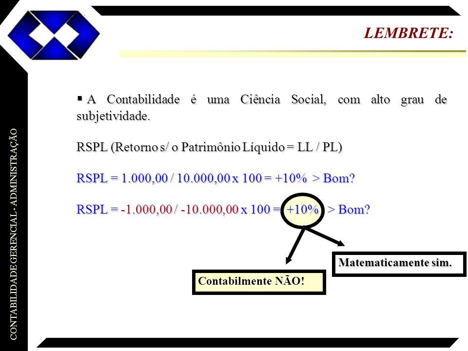CONTABILIDADE GERENCIAL - ADMINISTRAÇÃO LEMBRETE:  A Contabilidade é uma Ciência Social, com alto grau de subjetividade. RSPL (Retorno s/ o Patrimôni