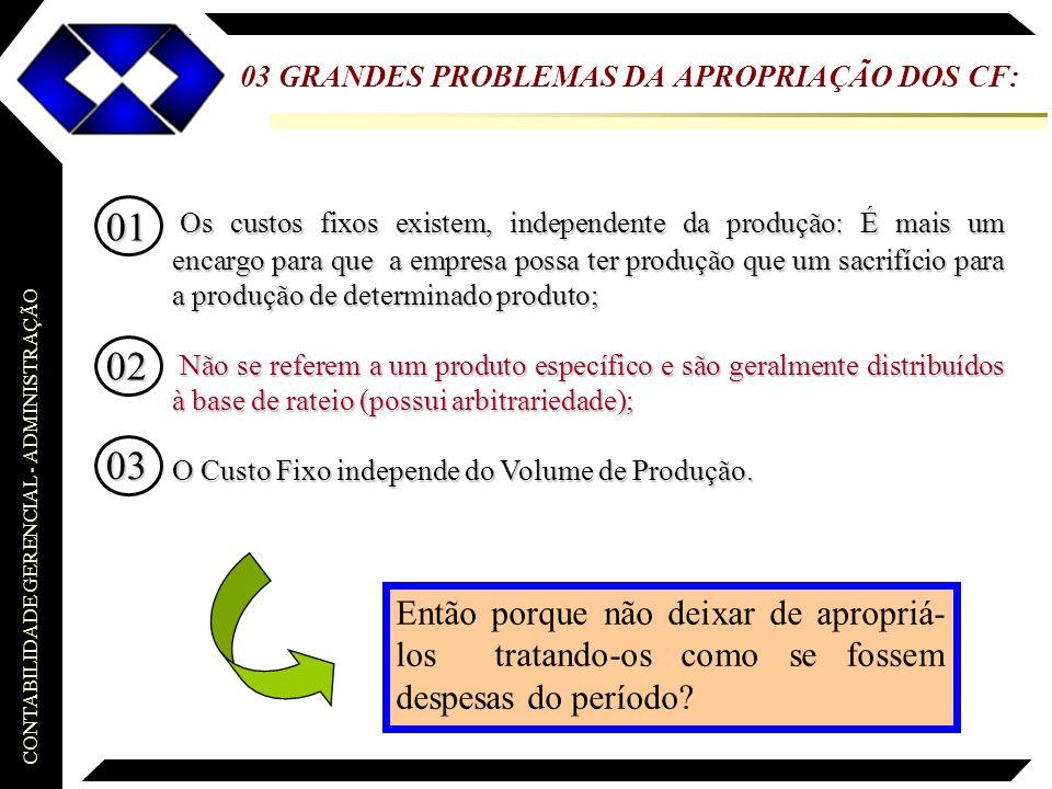 CONTABILIDADE GERENCIAL - ADMINISTRAÇÃO 03 GRANDES PROBLEMAS DA APROPRIAÇÃO DOS CF: Os custos fixos existem, independente da produção: É mais um encar