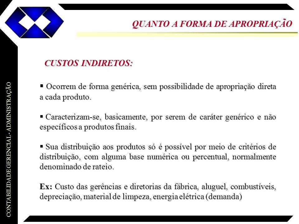 CONTABILIDADE GERENCIAL - ADMINISTRAÇÃO DRE CUSTEIO ABSORÇÃO: Receitas (Vendas dos período) ( - ) Custos (Fixos e Variáveis) (=) Lucro Bruto ( - ) Despesas (Fixas e Variáveis) (=) Lucro