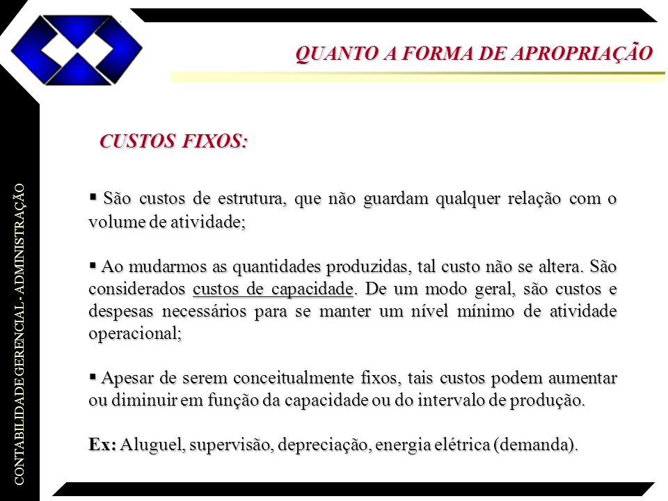 CONTABILIDADE GERENCIAL - ADMINISTRAÇÃO Custeio Variável...