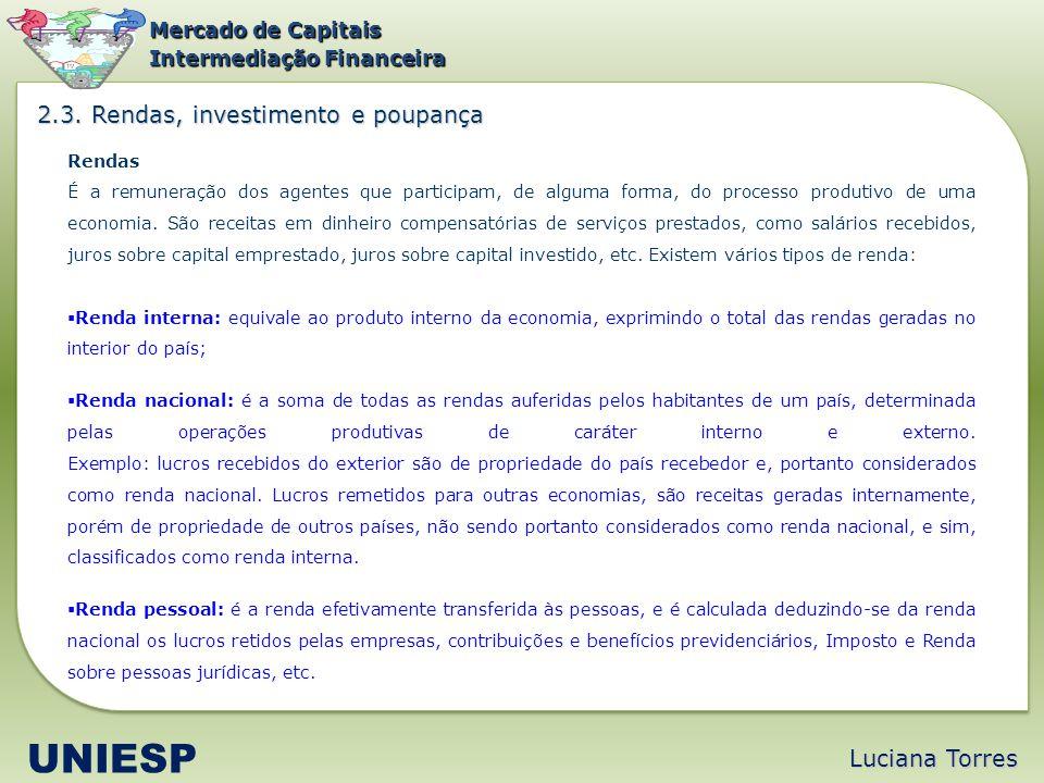 Luciana Torres UNIESP Mercado de Capitais Intermediação Financeira Rendas É a remuneração dos agentes que participam, de alguma forma, do processo pro