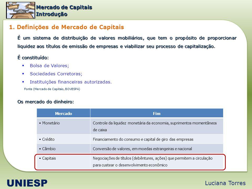 Luciana Torres UNIESP 1. Definições de Mercado de Capitais Fonte (Mercado de Capitais, BOVESPA) Mercado de Capitais Introdução É um sistema de distrib
