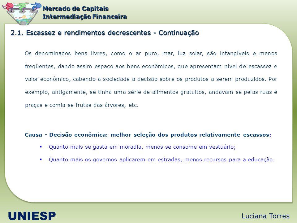 Luciana Torres UNIESP Mercado de Capitais Intermediação Financeira 2.1. Escassez e rendimentos decrescentes - Continuação Os denominados bens livres,