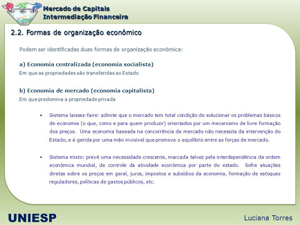 Luciana Torres UNIESP Mercado de Capitais Intermediação Financeira Podem ser identificadas duas formas de organização econômica: a) Economia centraliz