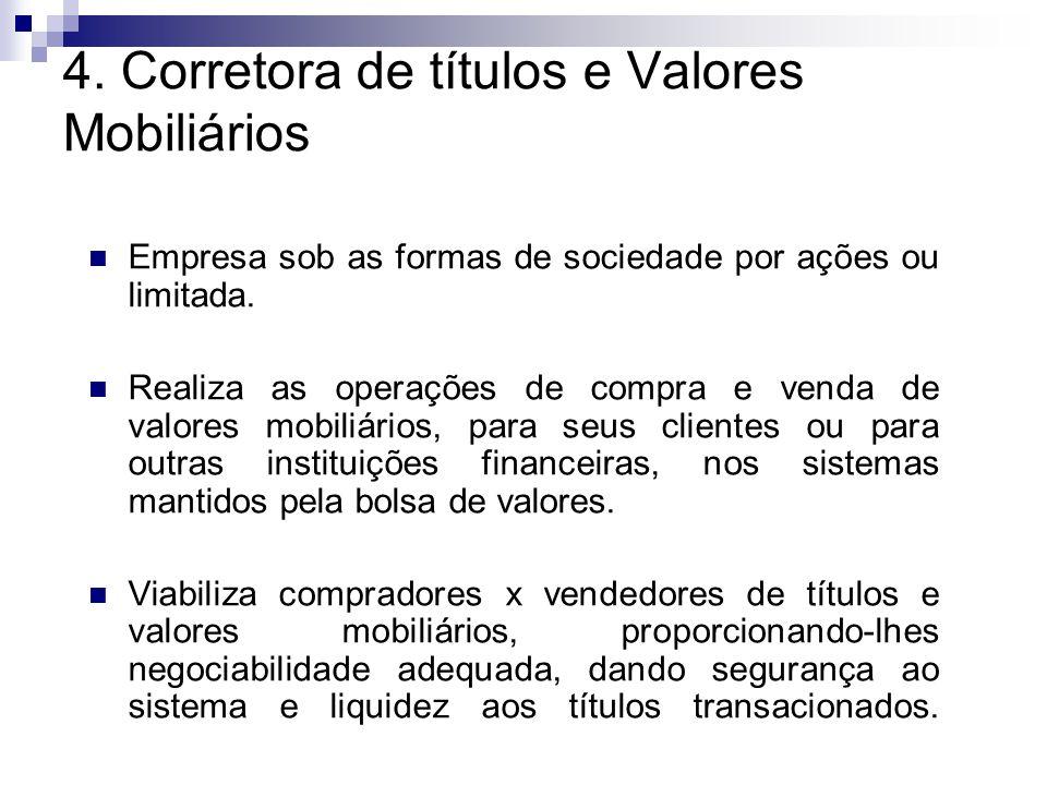 4. Corretora de títulos e Valores Mobiliários Empresa sob as formas de sociedade por ações ou limitada. Realiza as operações de compra e venda de valo