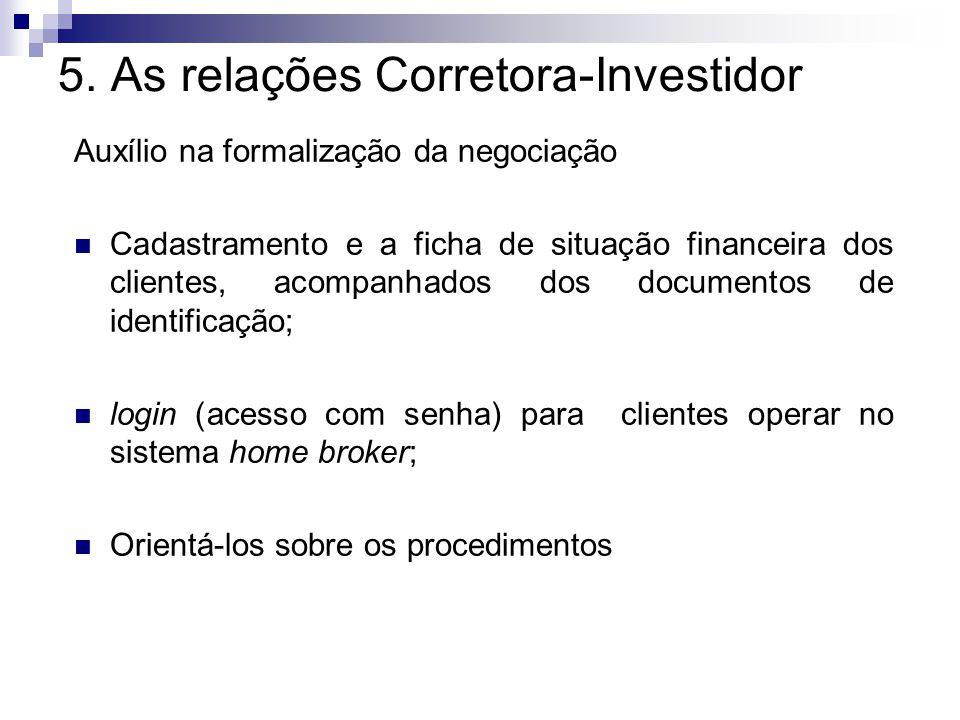 5. As relações Corretora-Investidor Auxílio na formalização da negociação Cadastramento e a ficha de situação financeira dos clientes, acompanhados do