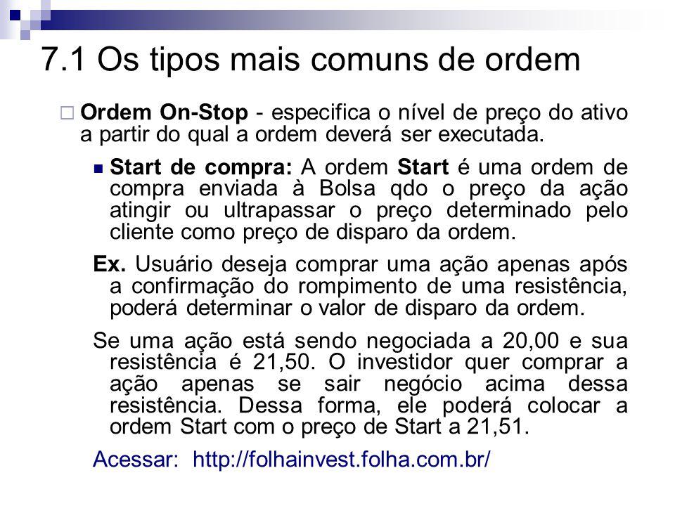 7.1 Os tipos mais comuns de ordem  Ordem On-Stop - especifica o nível de preço do ativo a partir do qual a ordem deverá ser executada.