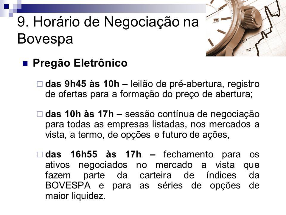 9. Horário de Negociação na Bovespa Pregão Eletrônico  das 9h45 às 10h – leilão de pré-abertura, registro de ofertas para a formação do preço de aber