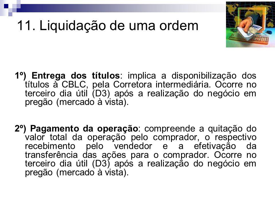 11. Liquidação de uma ordem 1º) Entrega dos títulos: implica a disponibilização dos títulos à CBLC, pela Corretora intermediária. Ocorre no terceiro d