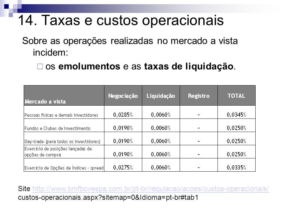 14. Taxas e custos operacionais Sobre as operações realizadas no mercado a vista incidem:  os emolumentos e as taxas de liquidação. Site http://www.b