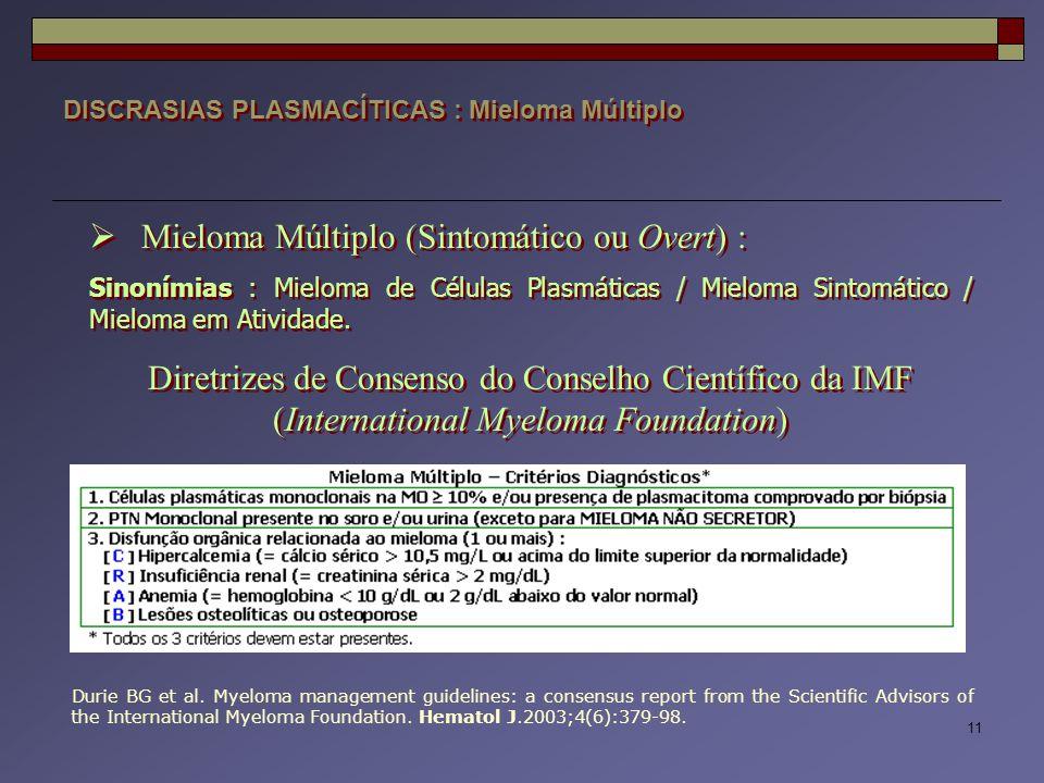 11 DISCRASIAS PLASMACÍTICAS : Mieloma Múltiplo  Mieloma Múltiplo (Sintomático ou Overt) : Sinonímias : Mieloma de Células Plasmáticas / Mieloma Sinto