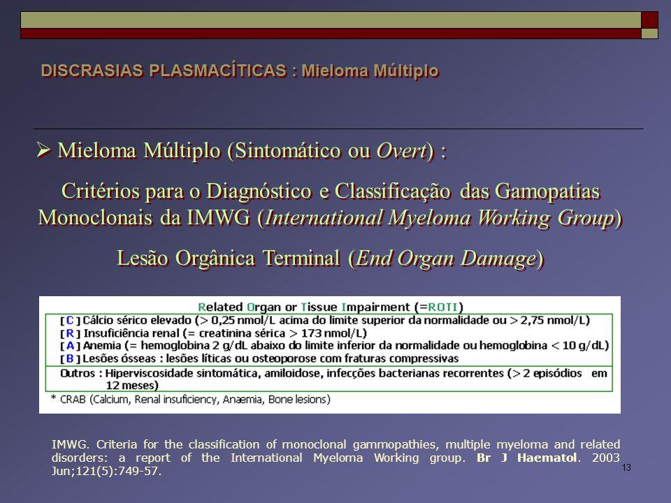 13 DISCRASIAS PLASMACÍTICAS : Mieloma Múltiplo  Mieloma Múltiplo (Sintomático ou Overt) : Critérios para o Diagnóstico e Classificação das Gamopatias