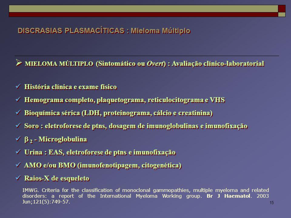 15 DISCRASIAS PLASMACÍTICAS : Mieloma Múltiplo  MIELOMA MÚLTIPLO (Sintomático ou Overt) : Avaliação clínico-laboratorial História clínica e exame fís
