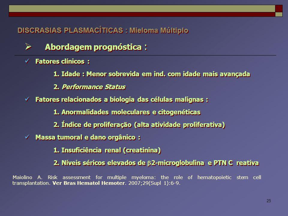 25 DISCRASIAS PLASMACÍTICAS : Mieloma Múltiplo  Abordagem prognóstica : Fatores clínicos : 1. Idade : Menor sobrevida em ind. com idade mais avançada