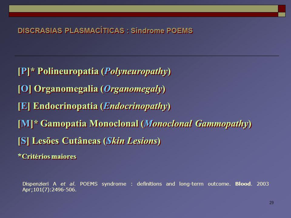 29 DISCRASIAS PLASMACÍTICAS : Síndrome POEMS [P]* Polineuropatia (Polyneuropathy) [O] Organomegalia (Organomegaly) [E] Endocrinopatia (Endocrinopathy)
