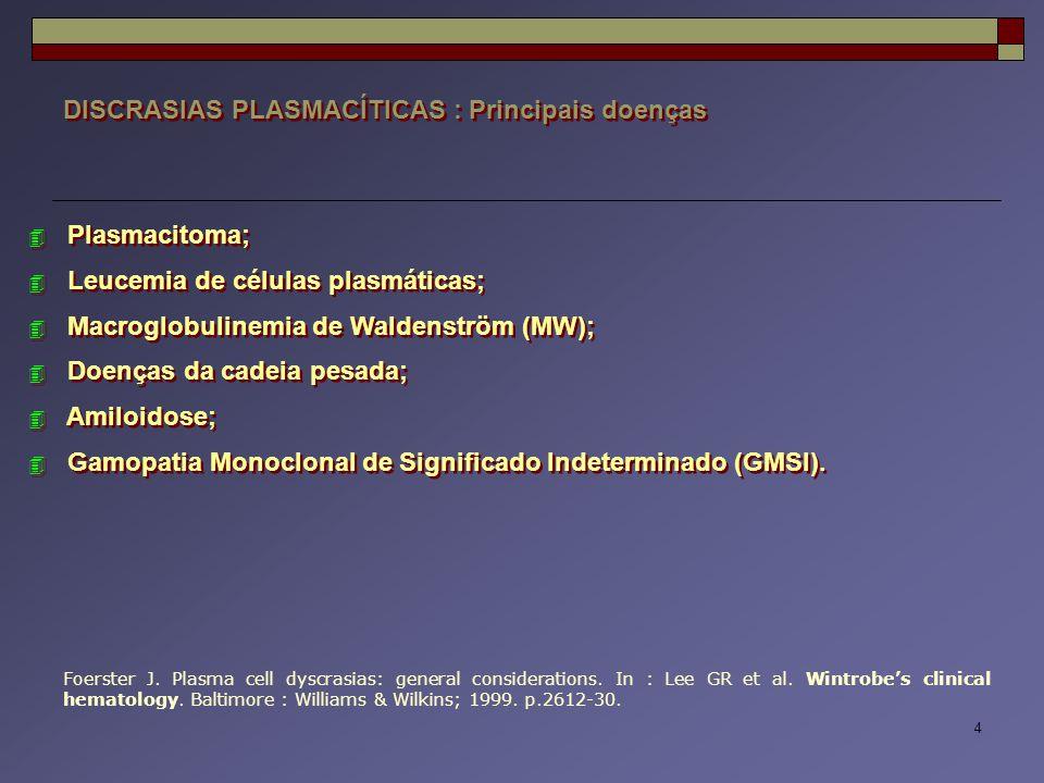 15 DISCRASIAS PLASMACÍTICAS : Mieloma Múltiplo  MIELOMA MÚLTIPLO (Sintomático ou Overt) : Avaliação clínico-laboratorial História clínica e exame físico Hemograma completo, plaquetograma, reticulocitograma e VHS Bioquímica sérica (LDH, proteinograma, cálcio e creatinina) Soro : eletroforese de ptns, dosagem de imunoglobulinas e imunofixação  2 - Microglobulina Urina : EAS, eletroforese de ptns e imunofixação AMO e/ou BMO (imunofenotipagem, citogenética) Raios-X de esqueleto  MIELOMA MÚLTIPLO (Sintomático ou Overt) : Avaliação clínico-laboratorial História clínica e exame físico Hemograma completo, plaquetograma, reticulocitograma e VHS Bioquímica sérica (LDH, proteinograma, cálcio e creatinina) Soro : eletroforese de ptns, dosagem de imunoglobulinas e imunofixação  2 - Microglobulina Urina : EAS, eletroforese de ptns e imunofixação AMO e/ou BMO (imunofenotipagem, citogenética) Raios-X de esqueleto IMWG.