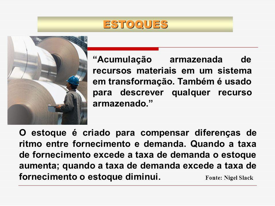 """""""Acumulação armazenada de recursos materiais em um sistema em transformação. Também é usado para descrever qualquer recurso armazenado."""" O estoque é c"""