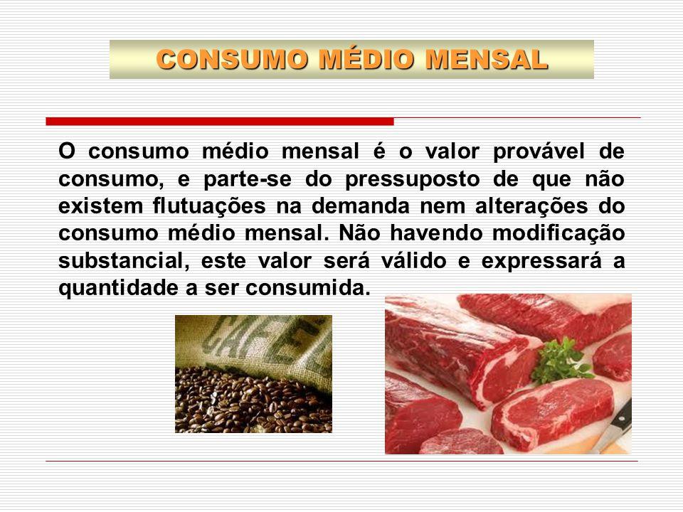 O consumo médio mensal é o valor provável de consumo, e parte-se do pressuposto de que não existem flutuações na demanda nem alterações do consumo méd