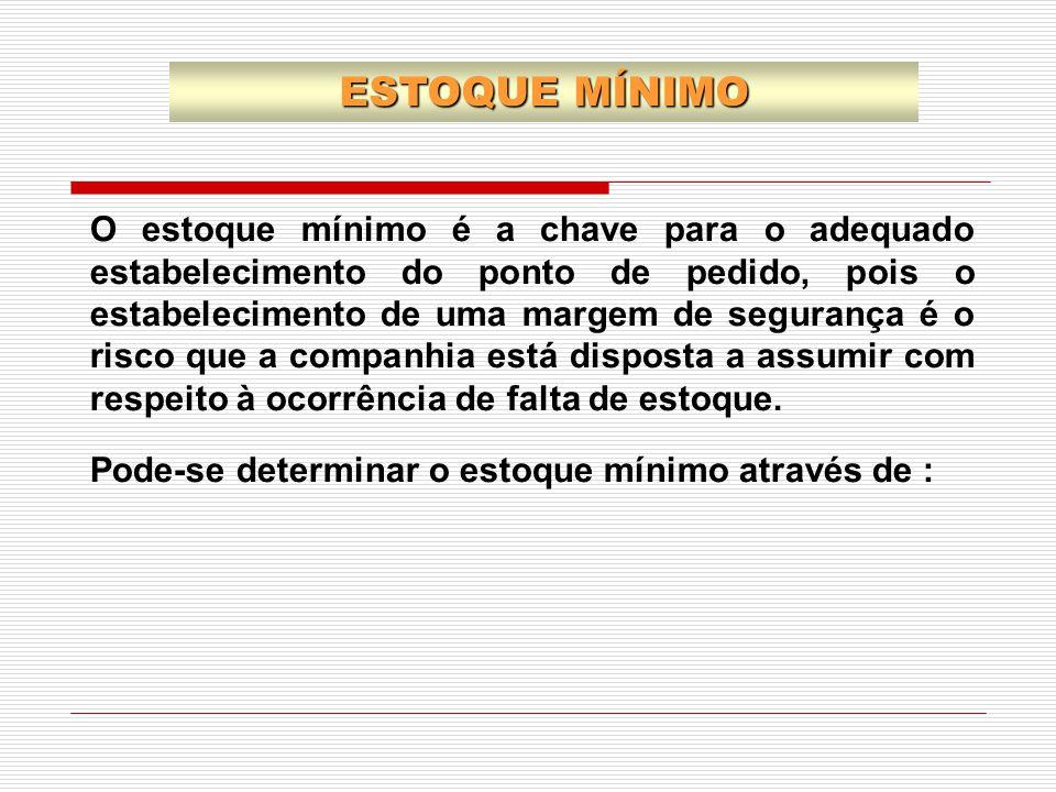 O estoque mínimo é a chave para o adequado estabelecimento do ponto de pedido, pois o estabelecimento de uma margem de segurança é o risco que a compa