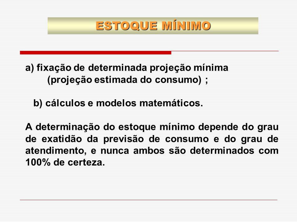 a) fixação de determinada projeção mínima (projeção estimada do consumo) ; b) cálculos e modelos matemáticos. A determinação do estoque mínimo depende