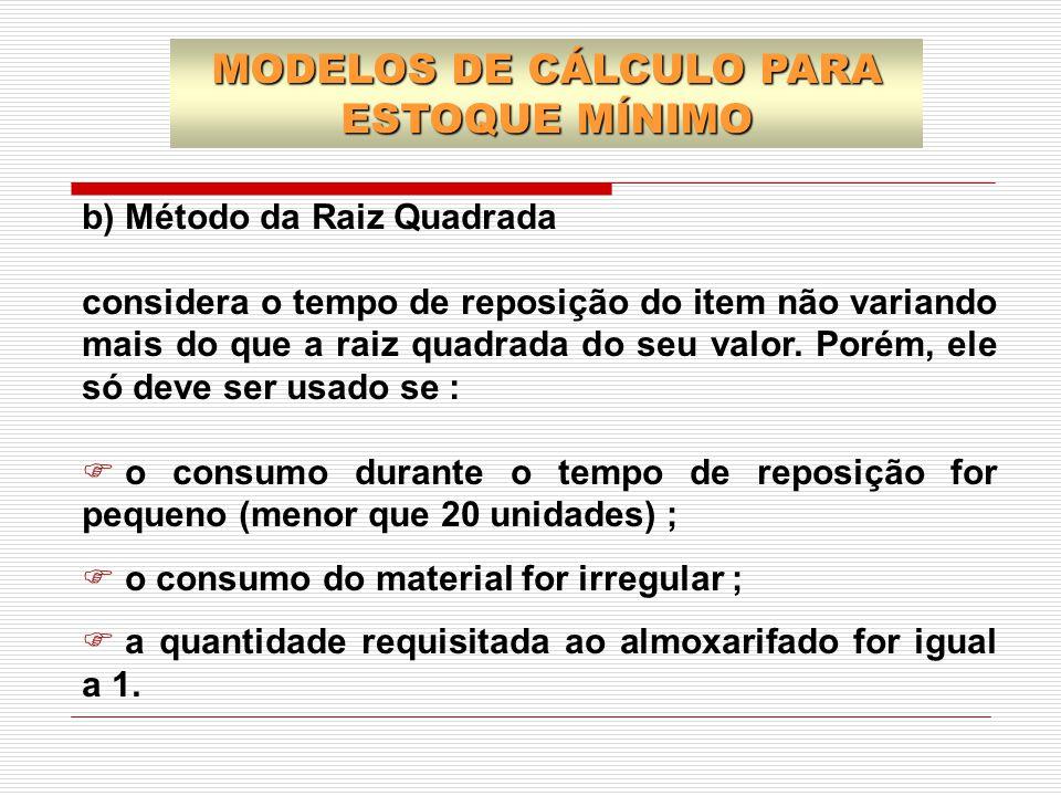 b) Método da Raiz Quadrada considera o tempo de reposição do item não variando mais do que a raiz quadrada do seu valor. Porém, ele só deve ser usado