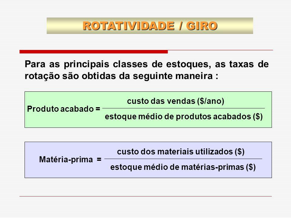 Para as principais classes de estoques, as taxas de rotação são obtidas da seguinte maneira : custo das vendas ($/ano) Produto acabado = estoque médio