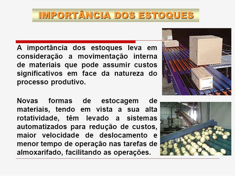 A importância dos estoques leva em consideração a movimentação interna de materiais que pode assumir custos significativos em face da natureza do proc