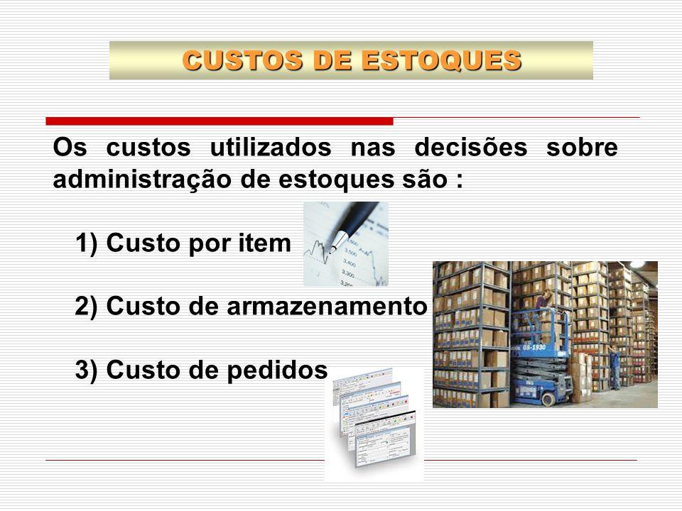 Os custos utilizados nas decisões sobre administração de estoques são : 1) Custo por item 2) Custo de armazenamento 3) Custo de pedidos CUSTOS DE ESTO
