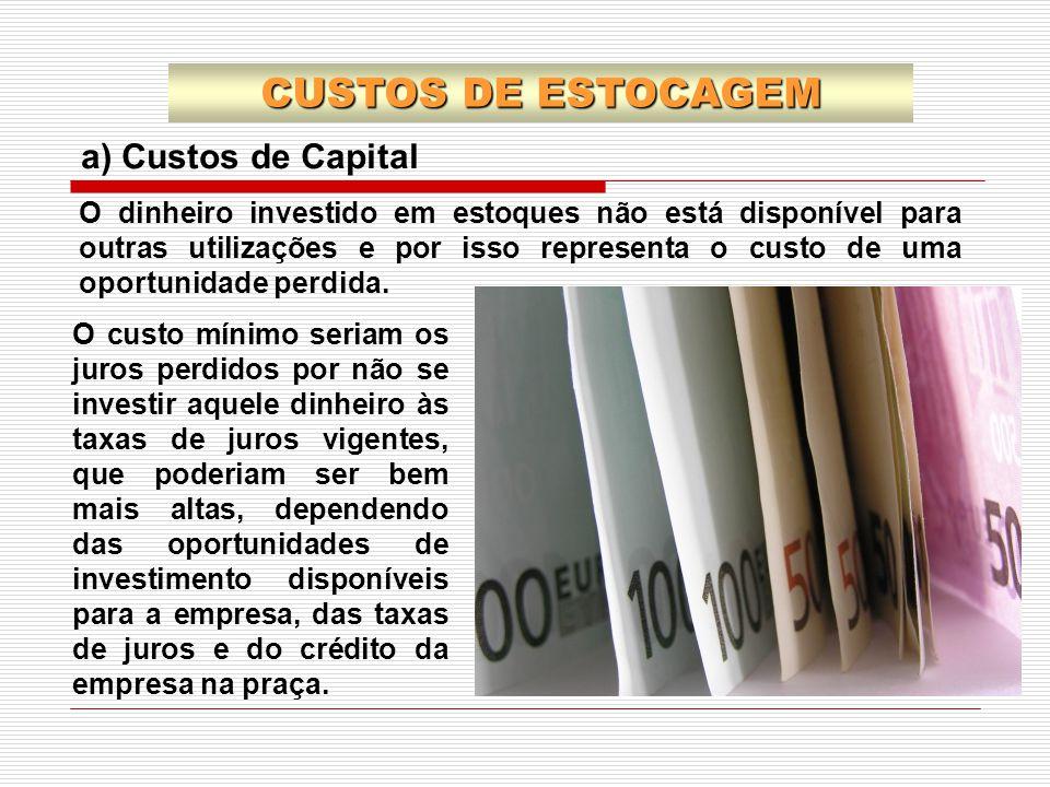 a) Custos de Capital O custo mínimo seriam os juros perdidos por não se investir aquele dinheiro às taxas de juros vigentes, que poderiam ser bem mais