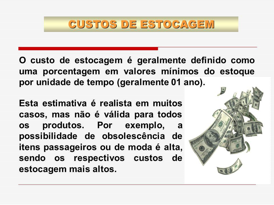 O custo de estocagem é geralmente definido como uma porcentagem em valores mínimos do estoque por unidade de tempo (geralmente 01 ano). CUSTOS DE ESTO