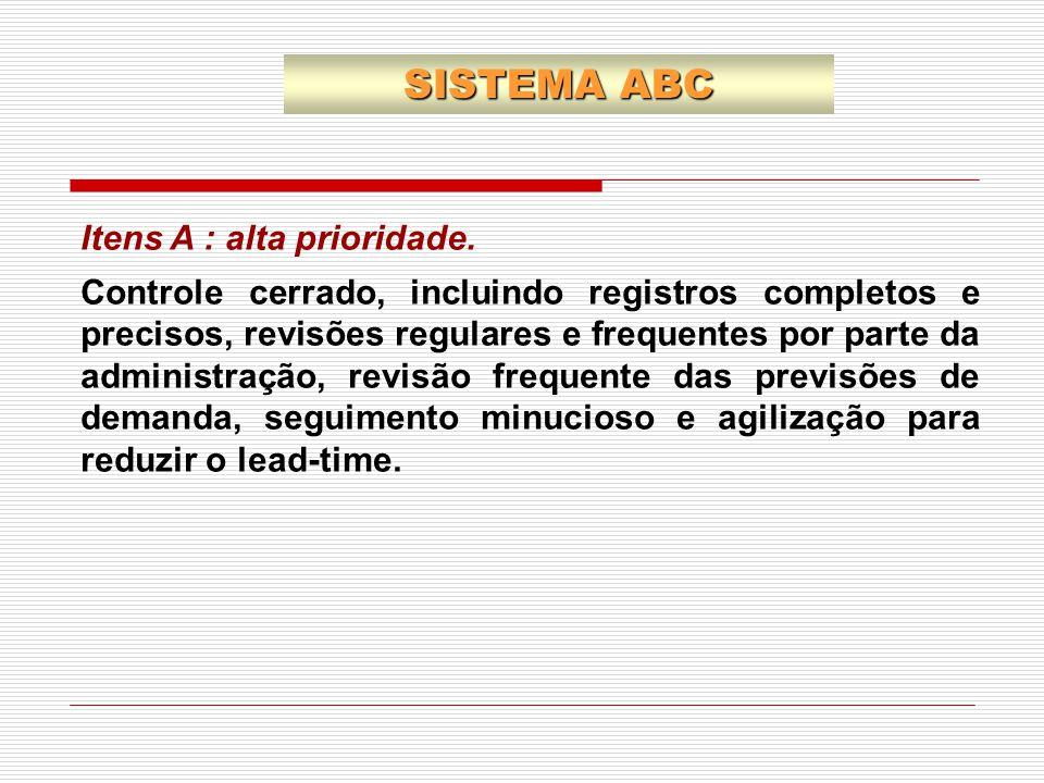Itens A : alta prioridade. Controle cerrado, incluindo registros completos e precisos, revisões regulares e frequentes por parte da administração, rev