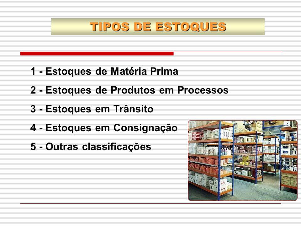 1 - Estoques de Matéria Prima 2 - Estoques de Produtos em Processos 3 - Estoques em Trânsito 4 - Estoques em Consignação 5 - Outras classificações TIP
