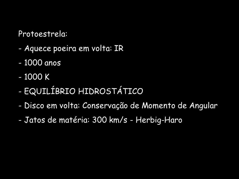 Protoestrela: - Aquece poeira em volta: IR - 1000 anos - 1000 K - EQUILÍBRIO HIDROSTÁTICO - Disco em volta: Conservação de Momento de Angular - Jatos