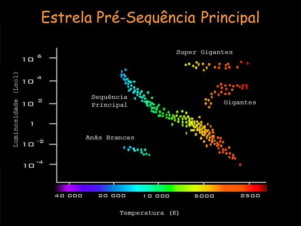 Estrela Pré-Sequência Principal Anãs Brancas Sequência Principal Super Gigantes Gigantes Temperatura (K) Luminosidade (Lsol)