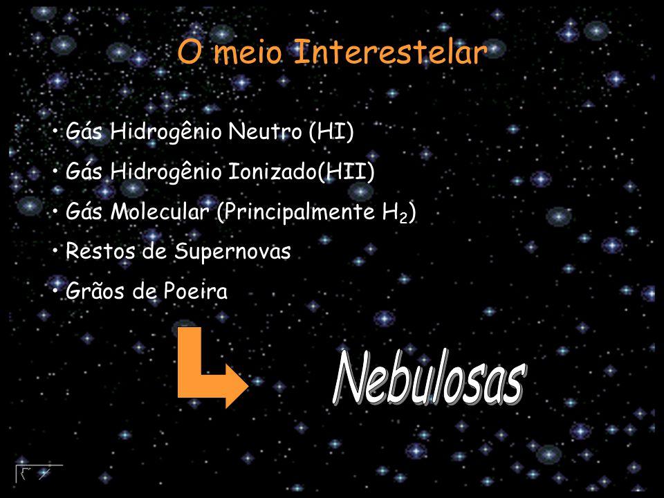 Gás Hidrogênio Neutro (HI) Gás Hidrogênio Ionizado(HII) Gás Molecular (Principalmente H 2 ) Restos de Supernovas Grãos de Poeira