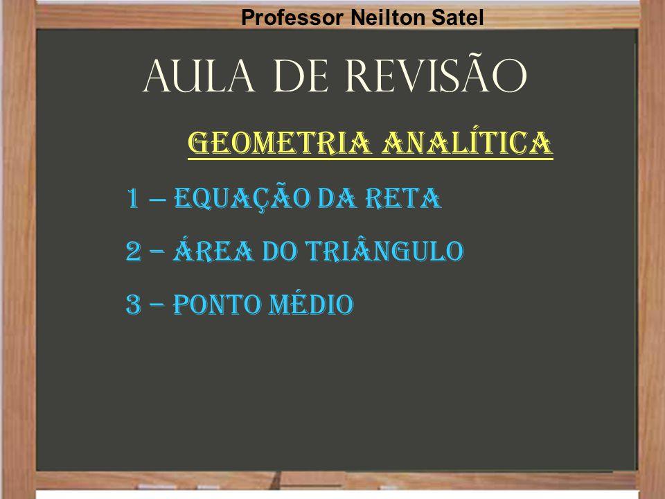Aula de Revisão Geometria Analítica 1 – Equação da Reta 2 – Área do triângulo 3 – ponto Médio Professor Neilton Satel