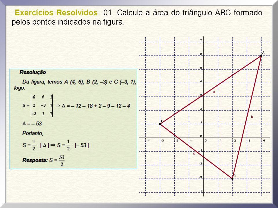 Exercícios Resolvidos 01.Calcule a área do triângulo ABC formado pelos pontos indicados na figura.