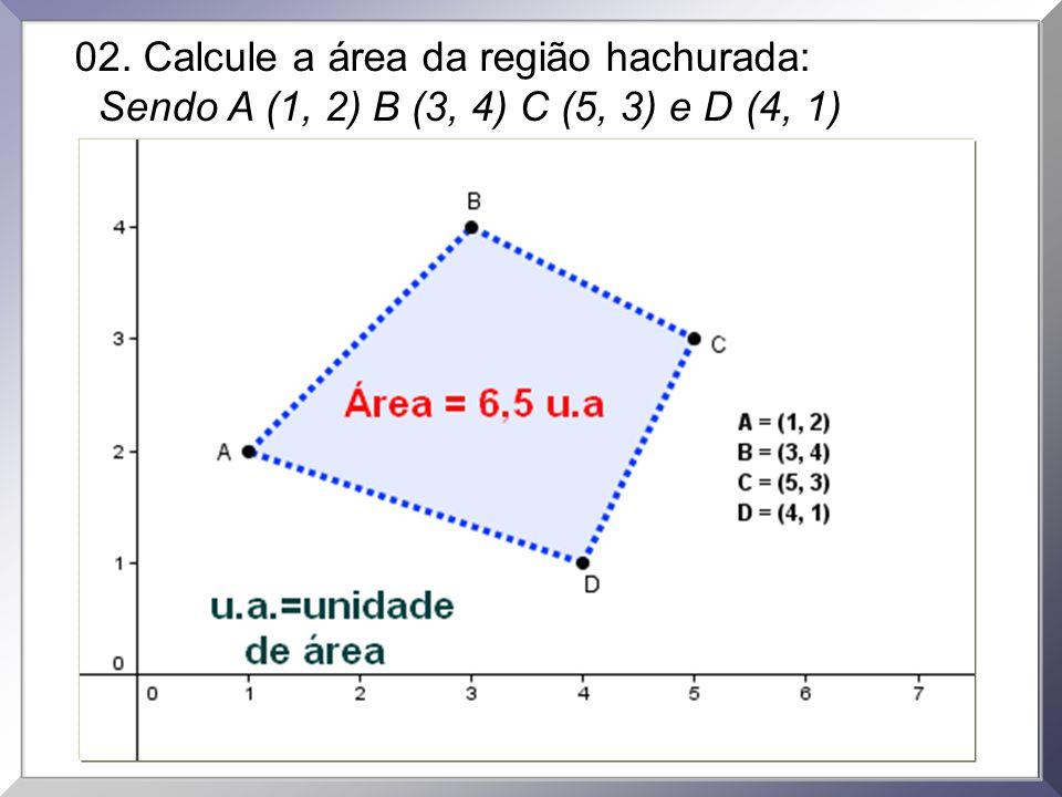 02. Calcule a área da região hachurada: Sendo A (1, 2) B (3, 4) C (5, 3) e D (4, 1)