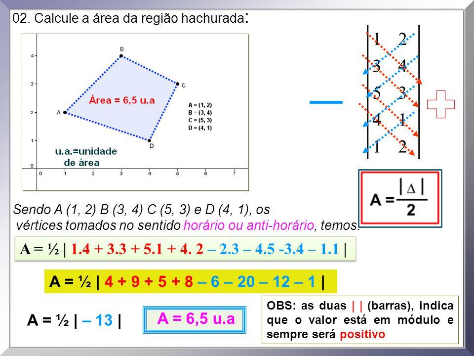02. Calcule a área da região hachurada : Sendo A (1, 2) B (3, 4) C (5, 3) e D (4, 1), os vértices tomados no sentido horário ou anti-horário, temos: 1