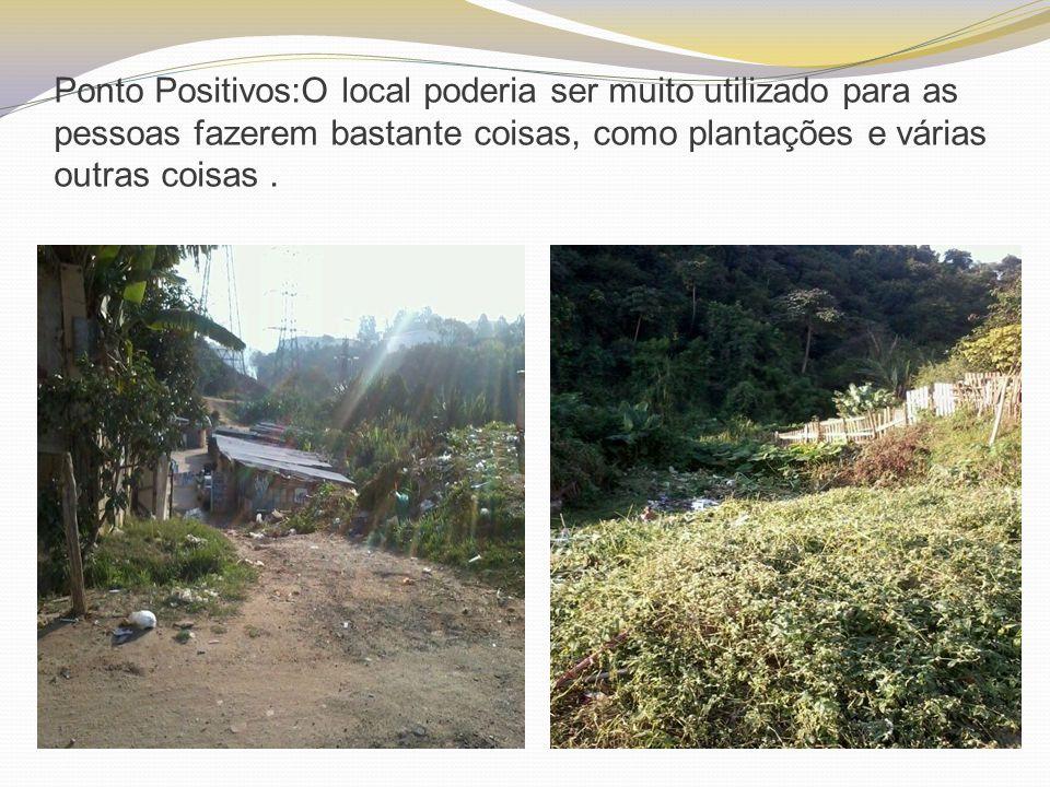 Ponto Positivos:O local poderia ser muito utilizado para as pessoas fazerem bastante coisas, como plantações e várias outras coisas.