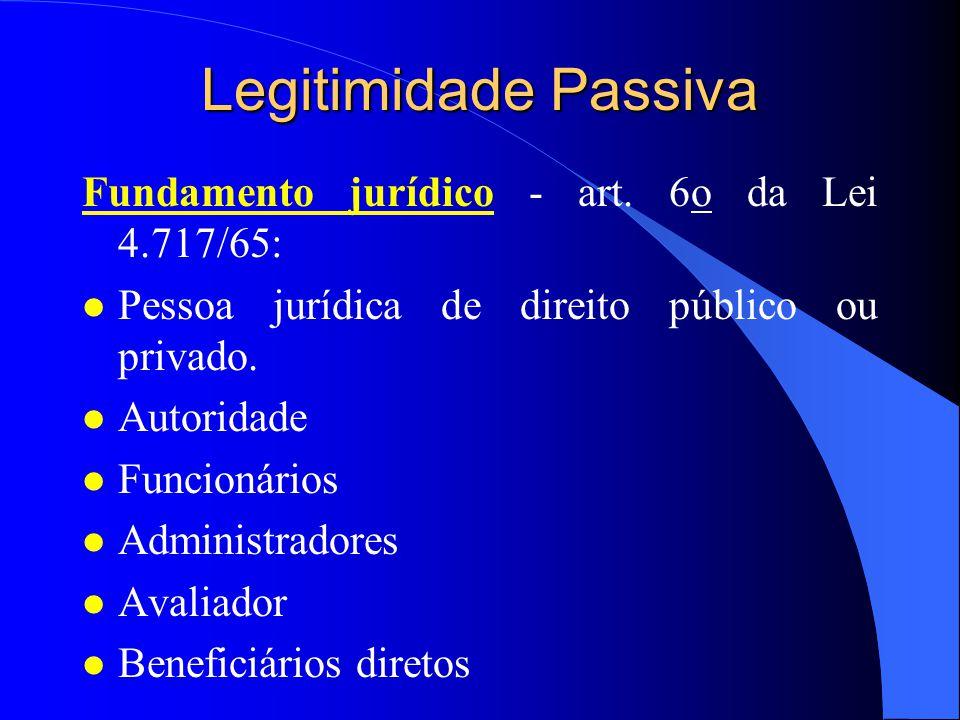 Legitimidade Ativa Fundamento jurídico - Art. 5o, LXXII, CF/88 e arts.