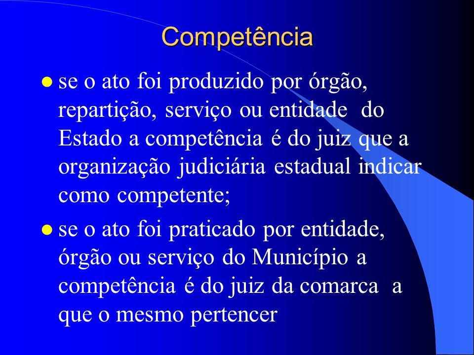 Competência l é determinada pela origem do ato a ser anulado; l se praticado por órgão da União, entidade autárquica ou paraestatal da União a competência é do juiz federal da Seção Judiciária em que se consumou o mesmo;