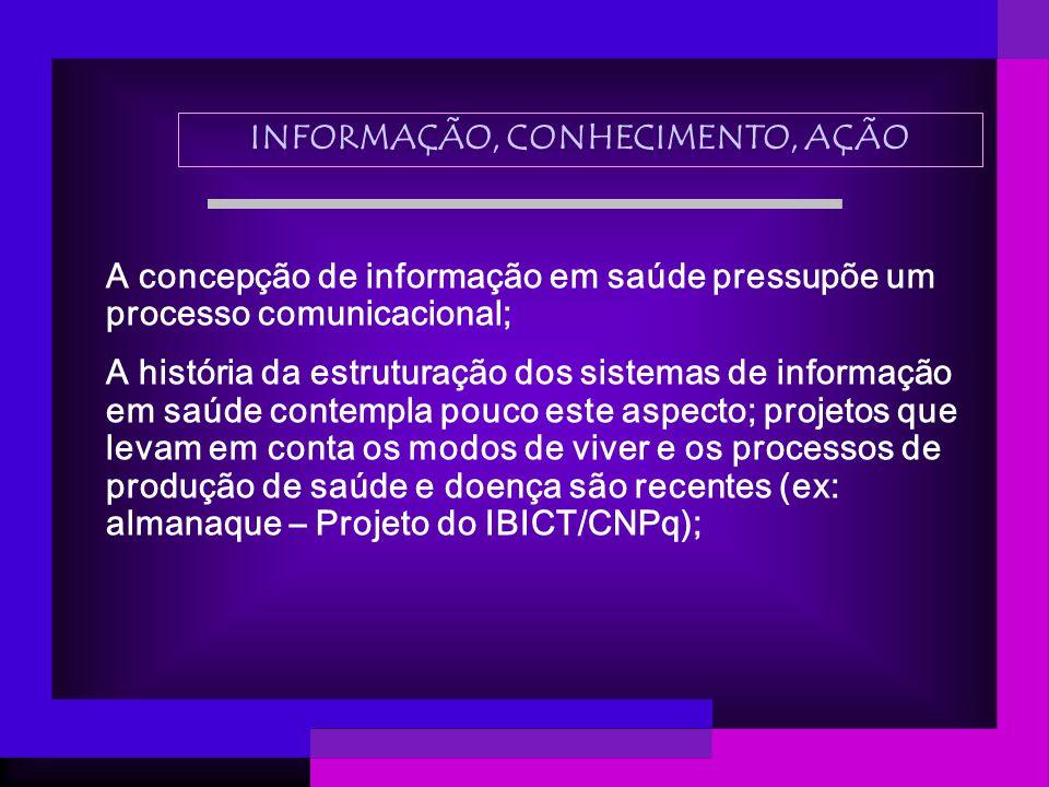 A concepção de informação em saúde pressupõe um processo comunicacional; A história da estruturação dos sistemas de informação em saúde contempla pouc