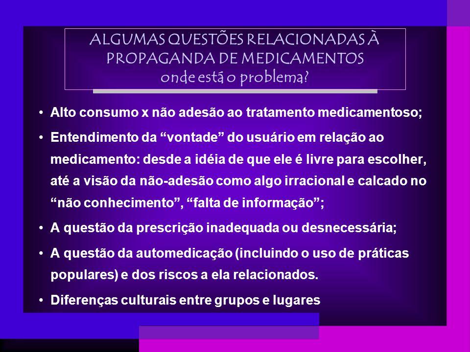 ALGUMAS QUESTÕES RELACIONADAS À PROPAGANDA DE MEDICAMENTOS onde está o problema? Alto consumo x não adesão ao tratamento medicamentoso; Entendimento d