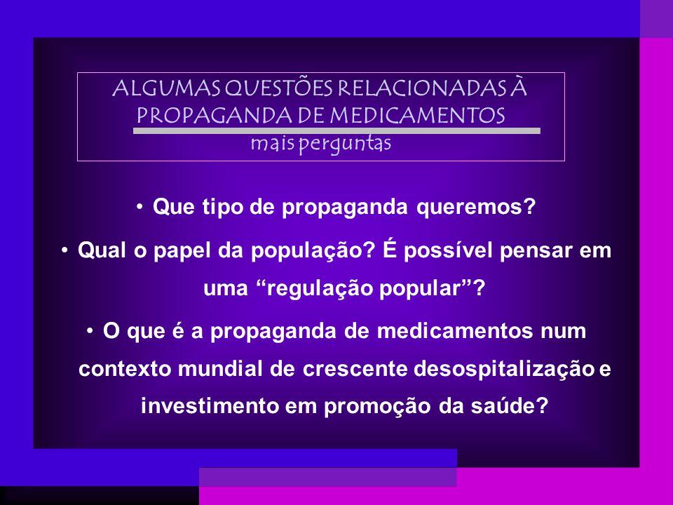 ALGUMAS QUESTÕES RELACIONADAS À PROPAGANDA DE MEDICAMENTOS mais perguntas Que tipo de propaganda queremos? Qual o papel da população? É possível pensa