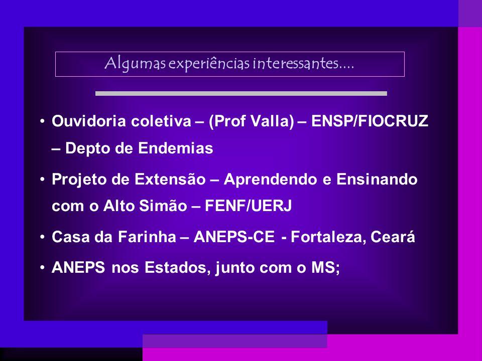 Algumas experiências interessantes.... Ouvidoria coletiva – (Prof Valla) – ENSP/FIOCRUZ – Depto de Endemias Projeto de Extensão – Aprendendo e Ensinan