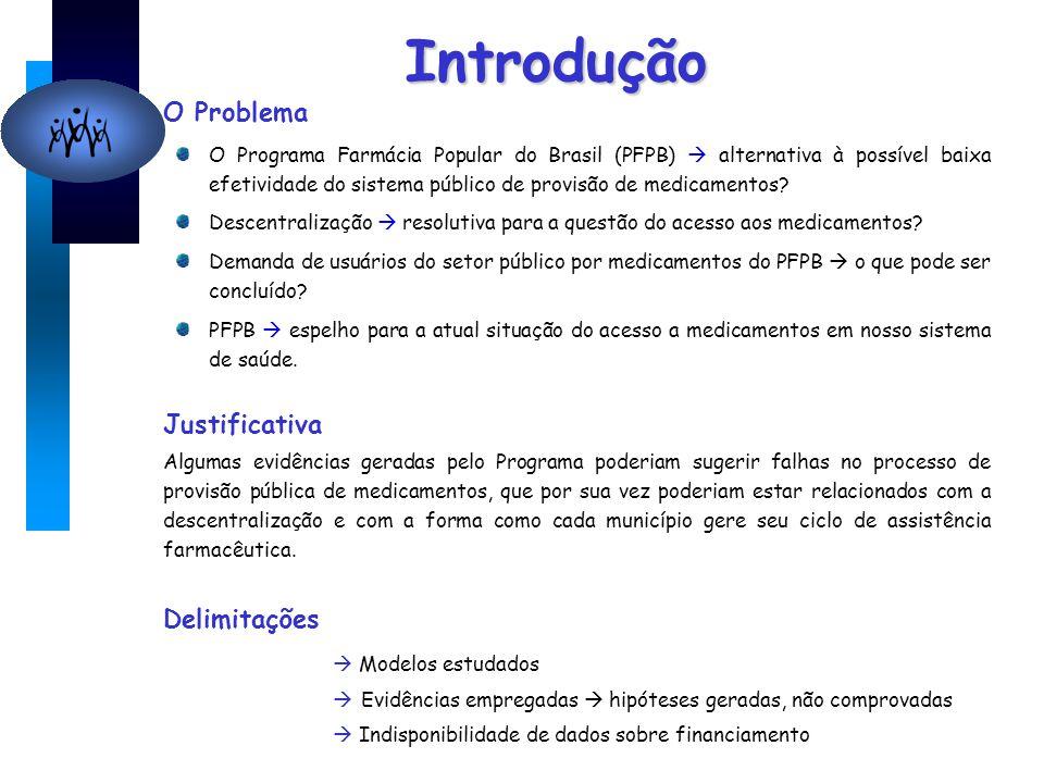 Introdução O Problema O Programa Farmácia Popular do Brasil (PFPB)  alternativa à possível baixa efetividade do sistema público de provisão de medicamentos.