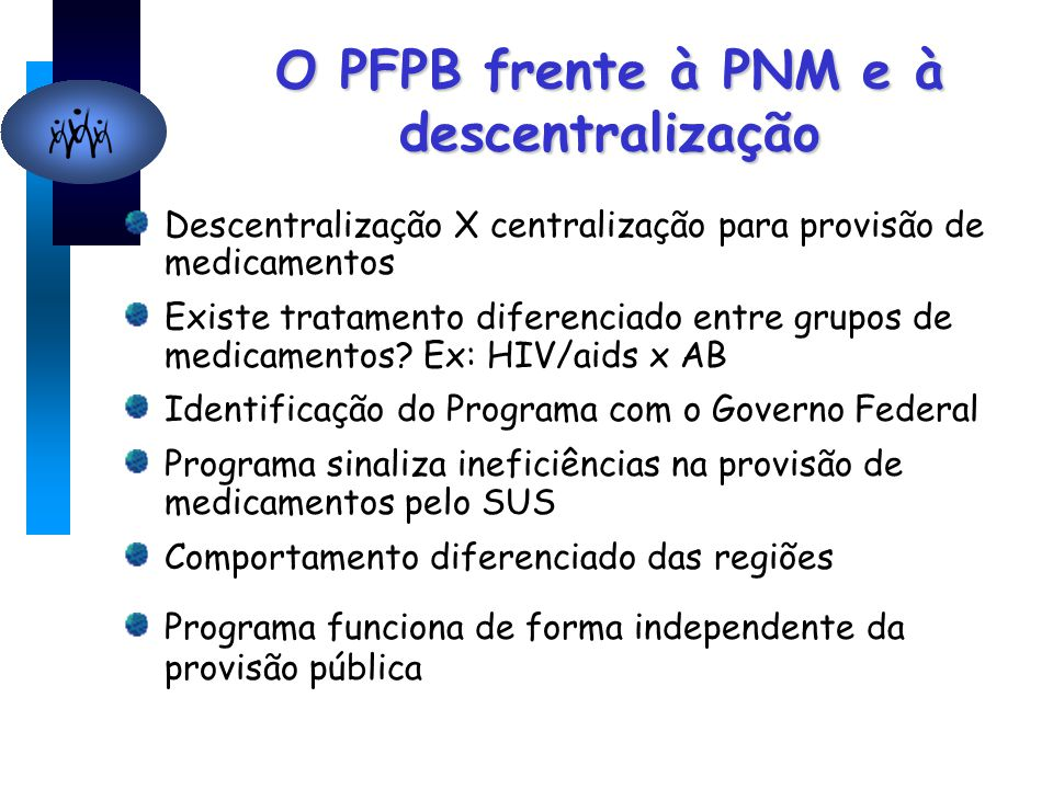 O PFPB frente à PNM e à descentralização Descentralização X centralização para provisão de medicamentos Existe tratamento diferenciado entre grupos de medicamentos.