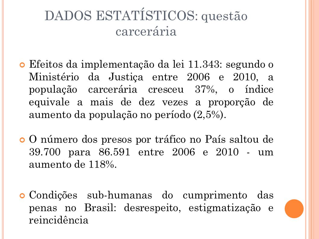 DADOS ESTATÍSTICOS: questão carcerária Efeitos da implementação da lei 11.343: segundo o Ministério da Justiça entre 2006 e 2010, a população carcerária cresceu 37%, o índice equivale a mais de dez vezes a proporção de aumento da população no período (2,5%).