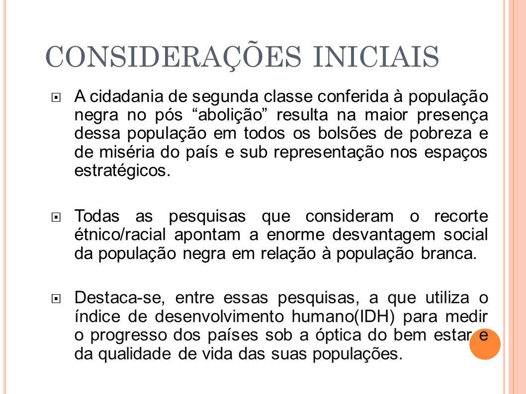 CONSIDERAÇÕES INICIAIS  A cidadania de segunda classe conferida à população negra no pós abolição resulta na maior presença dessa população em todos os bolsões de pobreza e de miséria do país e sub representação nos espaços estratégicos.